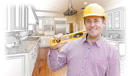 Senior artisan du bâtiment avec un outil